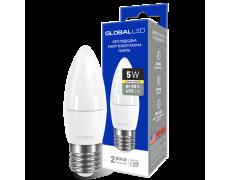 LED лампа GLOBAL C37 CL-F 5W мягкий свет 220V E27 AP (1-GBL-131) (NEW)