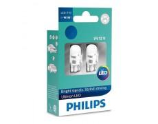 Лампа светодиодная Philips T10 (W5W) 4000K 12V, 2шт/блистер