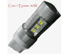 Светодиодная лампа Epistar+Cree в задних ход автомобиля с обманкой T20(W21/5W,W21W) 80W 9-30V 1000lm Белый