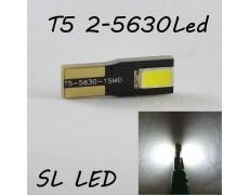 Светодиодная лампа в подсветку с цоколем T5(W2x4,6d)(W1.2W) 2-5630 12V 6000K