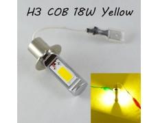 Светодиодная лампа в ПТФ, SLP LED под цоколь H3 светодиоды типа COB 18W 9-30 В. Желтый