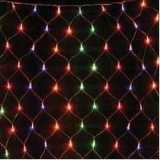 """Гирлянда светодиодная """"Сетка"""" 120 ламп (LED). Цвет светодиодов: синий, микс(разноцветный); Цвет шнура: прозрачный (белый)."""