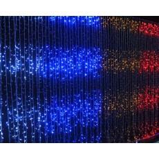 """Гирлянда светодиодная """"Водопад"""" 720 ламп(LED), уличная. Цвет светодиодов: синий, белый холодный, белый тёплый. Цвет провода: белый."""