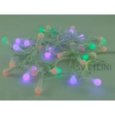 Гирлянда Нить (STRING) 3, 8м, БЕЛЫЙ КАБЕЛЬ ПВХ 40 светодиодов Разноцветная RGB с мерцанием