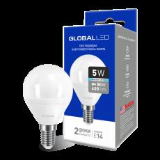 LED лампа GLOBAL G45 F 5W яркий свет 220V E14 AP (1-GBL-144) (NEW)