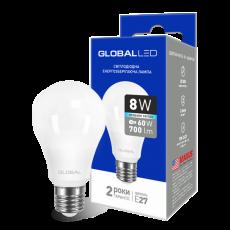 LED лампа GLOBAL A60 8W яркий свет 220V E27 AL (1-GBL-162) (NEW)