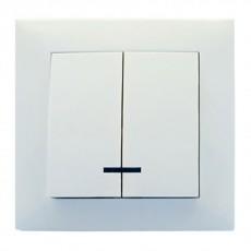 Выключатель RIGHT HAUSEN VELENA 2-й внутр. с подсв. белый HN-011051