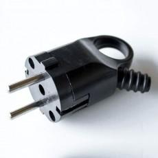 Вилка RIGHT HAUSEN угловая с/з с кольцом и гофрой черная HN-021052