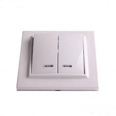 Выключатель RIGHT HAUSEN KIRA 2-й внутр. с подсв. белый HN-016051
