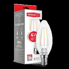 LED лампа MAXUS (филамент), C37, 4W, яргкий свет,E14 (1-LED-538) (NEW)