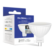 LED лампа GLOBAL MR16 5W яркий свет 220V GU5.3 (1-GBL-114) (NEW)