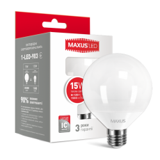 LED лампа MAXUS G95 15W 3000K 220V E27 (1-LED-903)
