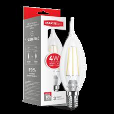 LED лампа MAXUS (филамент), C37 TL, 4W, яргкий свет,E14 (1-LED-540) (NEW)