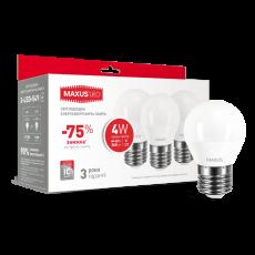 Набор LED ламп MAXUS G45 F 4W мягкий свет 220V E27 (по 3шт.) (3-LED-549) (NEW)