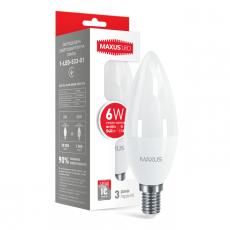 LED лампа MAXUS C37 6W мягкий свет 220V E14 (1-LED-533-01)