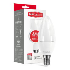 LED лампа MAXUS C37 CL-F 4W мягкий свет 220V E14 (1-LED-5311) (NEW)