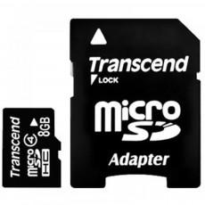 Карта памяти microSDHC Transcend 8 GB Class 4 + адаптер