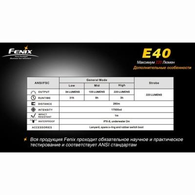 Фонарь Fenix E40 Cree XP-E (R4)