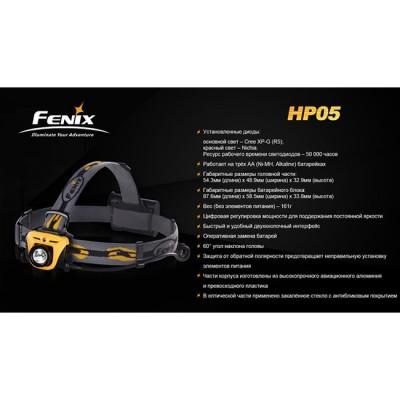 Фонарь Fenix HP05 XP-G (R5), желтый