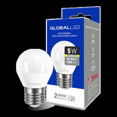 LED лампа GLOBAL G45 F 5W мягкий свет 220V E27 AP (1-GBL-141) (NEW)