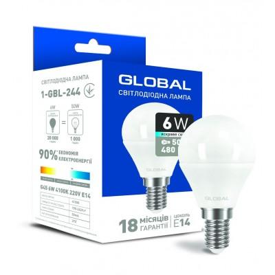 Светодиодная лампа Global G45 F 6W яркий свет E14