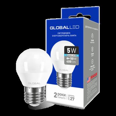 LED лампа GLOBAL G45 F 5W яркий свет 220V E27 AP (1-GBL-142) (NEW)