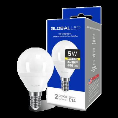 LED лампа GLOBAL G45 F 5W мягкий свет 220V E14 AP (1-GBL-143) (NEW)