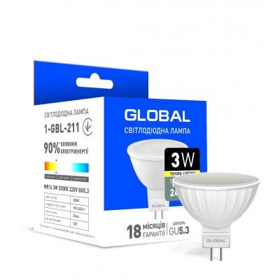 Светодиодная лампа Global MR16 3W теплый свет GU5.3