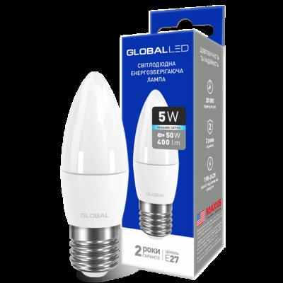 LED лампа GLOBAL C37 CL-F 5W яркий свет 220V E27 AP (1-GBL-132) (NEW)