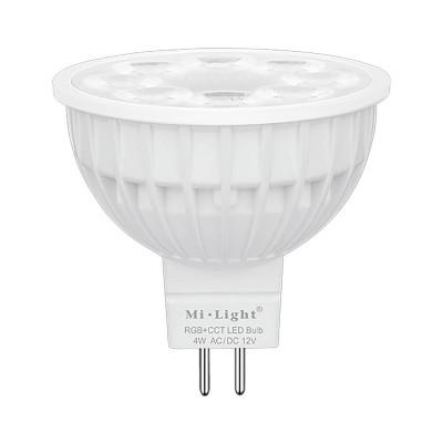 Светодиодная лампочка MiLight MR16 4Вт ССT + RGB 12 V