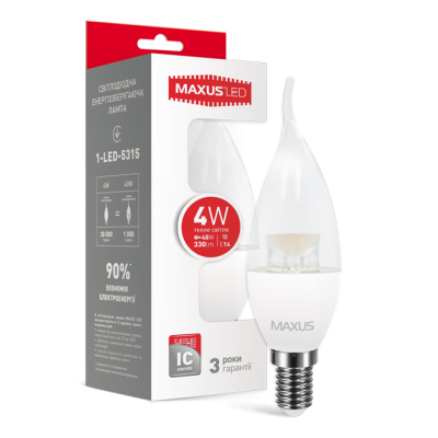 LED лампа MAXUS C37 CL-T 4W мягкий свет 220V E14 (1-LED-5315) (NEW)