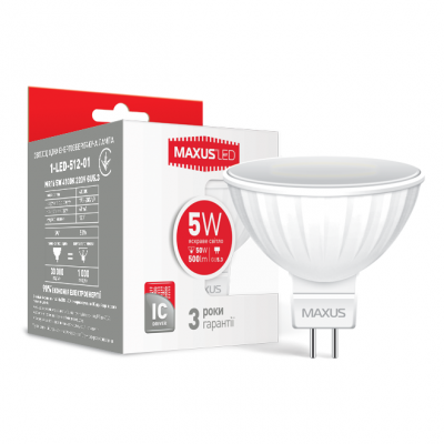 LED лампа MAXUS MR16 5W яркий свет 220V GU5.3 AP (1-LED-512-01)