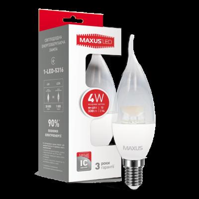 LED лампа MAXUS C37 CL-T 4W яркий свет 220V E14 (1-LED-5316) (NEW)