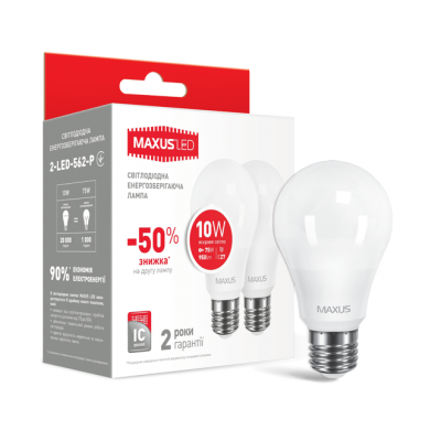 LED лампа A60 10W яркий свет 220V E27 (по 2 шт.) (2-LED-562-P) (NEW)