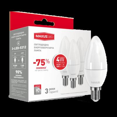 Набор LED ламп MAXUS C37 CL-F 4W яркий свет 220V E14 (по 3шт) (3-LED-5312) (NEW)
