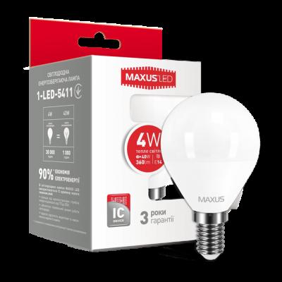 LED лампа MAXUS G45 F 4W мягкий свет 220V E14 (1-LED-5411) (NEW)