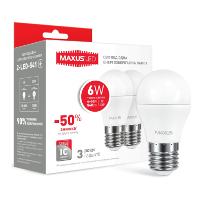 Набор LED ламп MAXUS G45 6W мягкий свет 220V E27 (по 2 шт.) (2-LED-541-P)