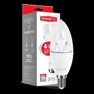 LED лампа C37 6W мягкий свет 220V E14 (1-LED-531) (NEW)