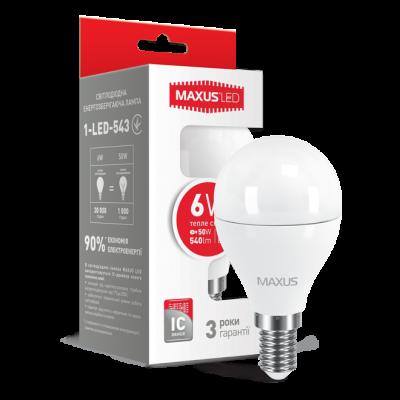 LED лампа G45 6W мягкий свет 220V E14 (1-LED-543) (NEW)