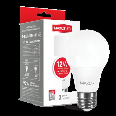 LED лампа MAXUS A65 12W яркий свет 220V E27 (1-LED-564-01)