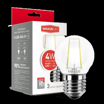 LED лампа MAXUS G45 FM 4W теплый свет 220V E27 (1-LED-545-01)