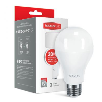 LED лампа MAXUS A80 20W 3000K 220V E27 (1-LED-569-01)