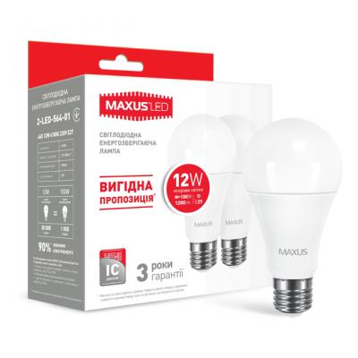 LED лампа MAXUS A65 12W яркий свет 220V E27 (по 2 шт.) (2-LED-564-01)