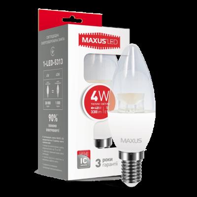 LED лампа MAXUS C37 CL-C 4W мягкий свет 220V E14 (1-LED-5313) (NEW)