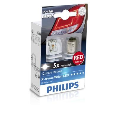 Лампа светодиодная Philips P21W RED 12/24V, 2шт/блистер