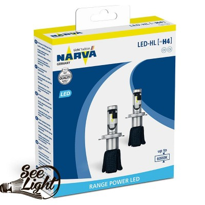 Led авто лампа Narva, цоколь H4 (P43t-38), 180043000, 16W, 6000K, комплект