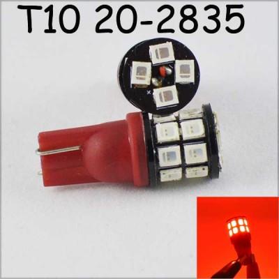 Светодиодная лампа SLP LED в задний габарит, салон под цоколь W5W(T10) 20 светодиодов типа 2835 9-30 В. Красный