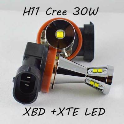 Автомобильная лампа SLP LED в противотуманные фонари с цоколем H11/H8/H9 Cree XBD +XTE 30W 10-30V Белый
