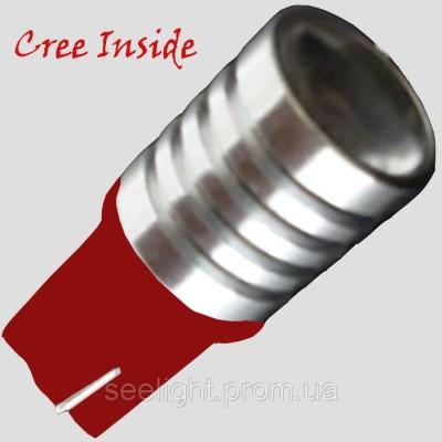 Автомобильная светодиодная лампа на базе цоколя T10 (W5W) CREE 3W 9-30V Линза, Красный