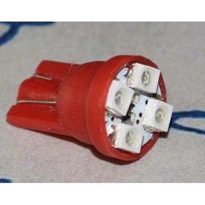 Светодиодная лампа в подсветку, красная T10-1210-4-R